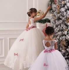 2015 Beautiful Flower Girls Dresses for Weddings Jewel Collar Applique Rhinestone Sash Bow Tulle Kids Formal Wear with Floor-Length Little Girl Wedding Dresses, Little Girls Easter Dresses, Girls Dresses, Flower Girls, Simple Flower Girl Dresses, Kids Formal Wear, Princess Flower, Princess Anna, First Communion Dresses