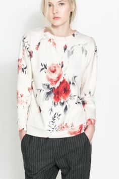 Leisure rose printed sweater_Sweatshirts_CLOTHING_Voguec Shop
