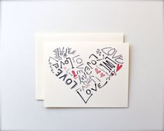 Red Love Heart Handmade Card, Wedding, Anniversary, Typographic Print, I Love You Blank Card via Etsy