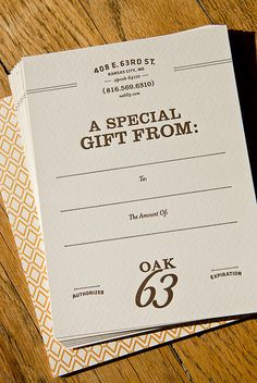 Oak 63 Gift Cards by Nathaniel Cooper, via Flickr
