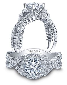 Kirk Kara Victoria Collection handcrafted platinum engagement ring.
