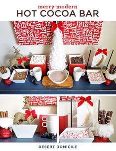 Hosting a party this holiday season? Entertain your friends and family with a merry modern hot cocoa bar! #christmas #entertaining