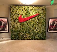 Essence magazine red carpet/ move more event. Nike background: made from hydrangeas and red roses.