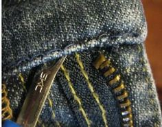 Replacing a jeans zipper. A website full of details on how-to alterations
