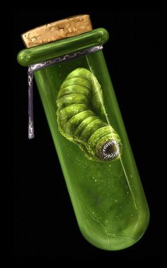 worm | bottle flask with a worm iside | tiny monster | creepy, magic items | fantasy concept art