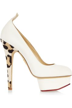 Charlotte Olympia | Love Dolly twill and calf hair pumps | SS2013