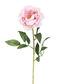"Peony Silk Flower Stem in Pink - 29"" Tall"