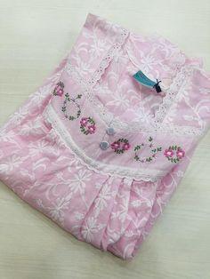 Baby Frocks Designs, Kids Frocks Design, Frock For Women, Night Dress For Women, Embroidery Suits Design, Embroidery Fashion, Night Wear Dress, Cotton Nighties, Nightgown Pattern