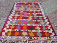 VINTAGE Turkish Area Rug Kilim Carpet Handwoven Rug by sofART