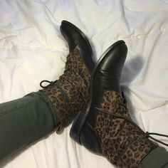 cheetah print boots worn a few times, flaws shown in pictures Shoes Combat & Moto Boots