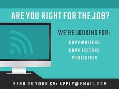 A simple job vacancy template to post on social media. A turquoise background, white text, and an illustration of a computer with a wifi symbol! Turquoise Background, Copywriting, Wifi, How To Apply, Positivity, Social Media, Templates, Simple, Illustration
