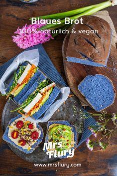 Blaues Brot backen - natürlich gefärbt - vegan - Mrs Flury Bakery, Low Carb, Yummy Food, Carp, Food Ideas, Cooking, Play Dough, Delicious Food