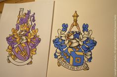 Hand painted Coats of Arms painted by British heraldic artist Andrew Stewart Jamieson. Working to commission and considered to be one of the worlds leading heraldic artists his studio was established in 1983. (heraldry, coats of arms, heraldic artists, armorials, achievement of arms, crests) To commission heraldic paintings contact: enquiries@jamieso...
