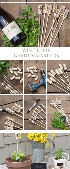 Wine Corks - Identificadores de plantas con corchos y palitos de brochette.