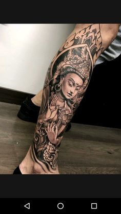 Black and grey buddha tattoo sleeve lotus … Leg Sleeve Tattoo, Leg Tattoo Men, Best Sleeve Tattoos, Forearm Tattoos, Body Art Tattoos, Tattoo Ink, Lotus Tattoo, Hand Tattoos, Buddha Tattoos