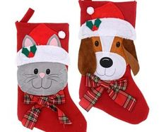 Christmas House Pet Stockings, 18 in. Bulk Christmas Stockings, Christmas Stocking Pattern, Felt Christmas Decorations, Christmas Sewing, Holiday Decor, Christmas Animals, Christmas Cats, Kitten Accessories, Baby Stocking