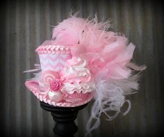 Baby Pink Chevron Cupcake Mini Top Hat, Mad hatter Hat, Alice in Wonderland Hat, Tea Party Hat, Candy Land Mini Hat, Kentucky Derby Hat by ChikiBird on Etsy https://www.etsy.com/listing/211594869/baby-pink-chevron-cupcake-mini-top-hat