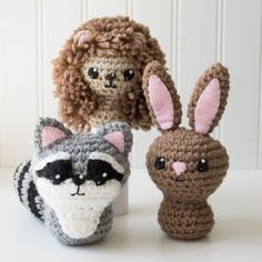 CraftyAlien Raccoon Hedgehog Bunny Rabbit Crochet Amigurumi Pattern