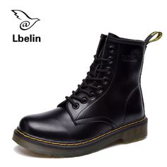 Women's Boots Doc 2017 Spring British Dr Vintage Classic Genuine Leather Female Rain Boots Motorcycle Women's Shoes Botas Mujer