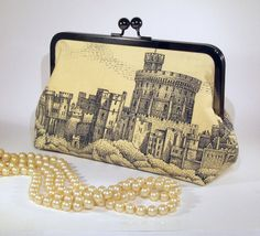 Toile Cotton Clutch  Windsor Castle in Black and Ivory by FABbyCAB, $52.00