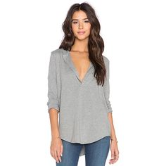 James Perse Open Henley Top Tops ($155) ❤ liked on Polyvore