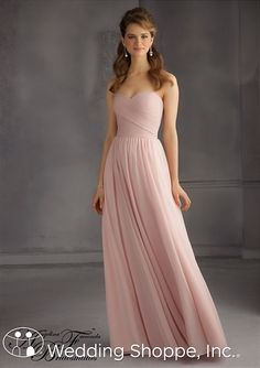 A flowing chiffon dress that will look flattering on your bridesmaids. Angelina Faccenda Bridesmaid Dress 20435