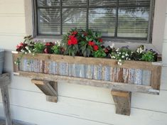 Handcrafted Rustic Window Box Planters out of reclaimed cedar and tin for standard window. Unique Garden, Garden Art, Garden Design, Box Garden, Garden Beds, Garden Benches, House Design, Rustic Planters, Window Planter Boxes