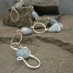 Aquamarine & Silver Circles Handmade Bracelet - Natural jewelry   TBeads - Jewelry on ArtFire
