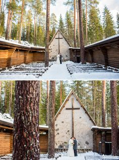 An Australian bride and a Finnish groom decided to have an open air chapel Winter Wedding in Finland.