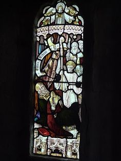 St. Aidan of Lindesfarne - from the church at the royal castle at Bamburgh, the site of his death; it shows the moment of his death, which took place in 651.