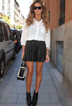 White Blouse Outfit with a Black Skirt
