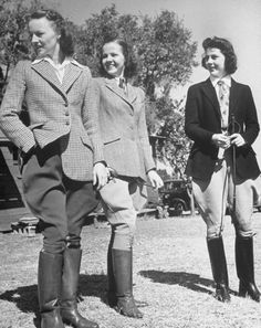 Vintage Hairstyles Coeds dressed for horseback riding at Rollins College - Winter Park, FL - Photo by: Alfred Eisenstaedt - p, td { line-height: } p { padding-bottom: } a { color: Equestrian Chic, Equestrian Outfits, Equestrian Fashion, Horse Riding, Riding Boots, Cowgirl Boots, Western Boots, 1940s Fashion, Vintage Fashion