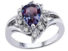 Pear Shape 8x6mm Simulated Alexandrite Ring 14kt Size 8.5 * Check this awesome product by going to the link at the image.