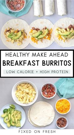Easy, meal prep breakfast burritos stuffed with egg, egg whites, cheddar, bacon and avocado with pico de gallo and wrapped in a low carb tortilla. The perfect make ahead breakfast. meals breakfast Easy Meal Prep Breakfast Burritos - FIXED on FRESH Make Ahead Breakfast Burritos, Healthy Make Ahead Breakfast, Healthy Low Calorie Breakfast, Breakfast Ham, Healthy Breakfast Meal Prep, Breakfast Options, Easy Meal Prep, Healthy Meal Prep, Healthy Recipes