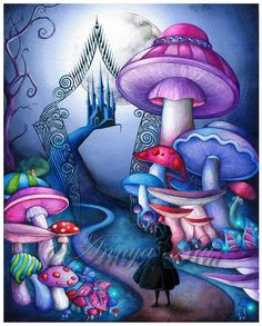 Alice in Wonderland Decor - Alice in Wonderland Wall Art - Mad Hatter Tim Burton Dark Fantasy Painting Mad Hatter Tim Burton, Fantasy Kunst, Fantasy Art, Dark Fantasy, Mushroom Art, Adventures In Wonderland, Dark Alice In Wonderland, Alice In Wonderland Paintings, Fantasy Paintings
