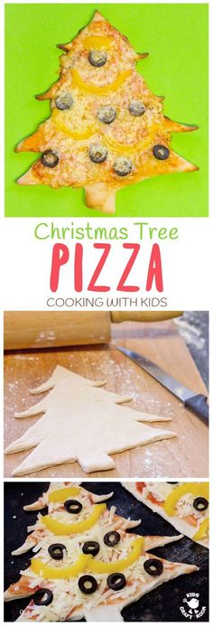 CHRISTMAS TREE PIZZA - the perfect Christmas recipe for cooking with kids. #christmas #christmasecipe #cookingwithkids #christmasideas #christmasideasforkids #pizza #pizzarecipe #kidsactiviies #kidsrecipes #kidscraftroom via @KidsCraftRoom