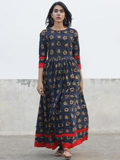 Indigo Black Brown Ivory Long Hand Block Cotton Dress With Back Details - D136F981