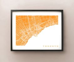 Simple, graphic and colourful print for the wall. Greater Toronto Area Map Print  #Toronto #map