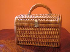 Vintage French Rattan Purse-Rattan Basket with Sturdy Wooden