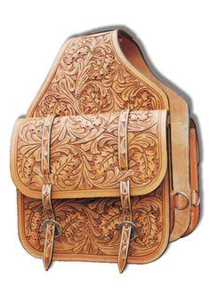 Oak Leaf Tooled Leather Saddle Bag