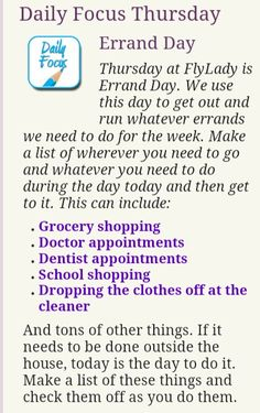 """FlyLady  Thursday  The day to schedule """"out-of-the-house"""" activities and appointments"""