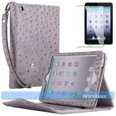 Silver Gray Ostrich PU Leather Carry Strap Handbag Case Smart Cover iPad Mini