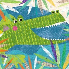 Oopsy Daisy - Canvas Wall Art Peeking Jungle Buddies - Crocodile By Liza Lewis, Size: 30 x Green Art Wall Kids, Art For Kids, Jungle Art, 2nd Grade Art, Ecole Art, Summer Crafts For Kids, Kindergarten Art, Animal Crafts, Art Lesson Plans