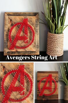 marvel decoracion Avengers Sign String Art-Super Hero Sign-Marvel Comic-Birthday Gift-Playroom Nursery Sign-Captain America Sign-Wood Sign-String and Nail Art Diy Arts And Crafts, Crafts For Kids, Diy Crafts, Nail String Art, Nail Art, Marvel Gifts, Marvel Canvas, Woodworking School, Diy Presents
