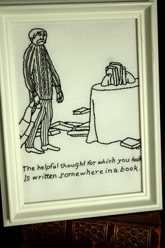 """Stitched by: Pam Aghababian ~ """"The art is originally by Edward Gorey and is, I think, very true :) I also love the guy's Cosby sweater and his perplexed/worried glance at the bookends. Cross Stitch Embroidery, Hand Embroidery, Edward Gorey, Contemporary Embroidery, Texture Design, Needle And Thread, Needlepoint, Needlework, Quilts"""