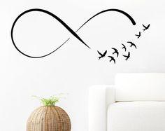 Infinito símbolo pared calcomanía vinilo Sticker Decals Home decoración Mural Infinity Loop vinilo bandada de pájaros volando pared calcomanías dormitorio SV6159
