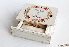 Wedding ring box ring bearer box boho jewelry box Watercolor wreath ring box custom holder personal box boho Wedding velvet ring box by ArtDidi on Etsy Wedding Ring Box, Wedding Boxes, Boho Wedding, Boho Jewelry, Jewelry Box, Unique Jewelry, Wreath Rings, Velvet Ring Box, Ring Bearer Box