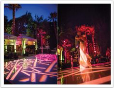 We loved this two-toned pink dance floor gobo which lit up this gorgeous outdoor wedding reception.  Design by Alchemy Fine Events