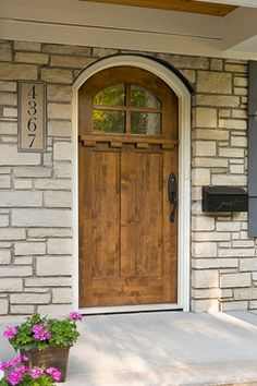 Front Door - Craftsman 3 Lite Arch Stained Mahogany Wood Right ...