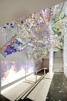 """""""Capturing Resonance"""" by Soo Sunny & Spencer Topel~Chainlink & iridescent acrylic installation"""
